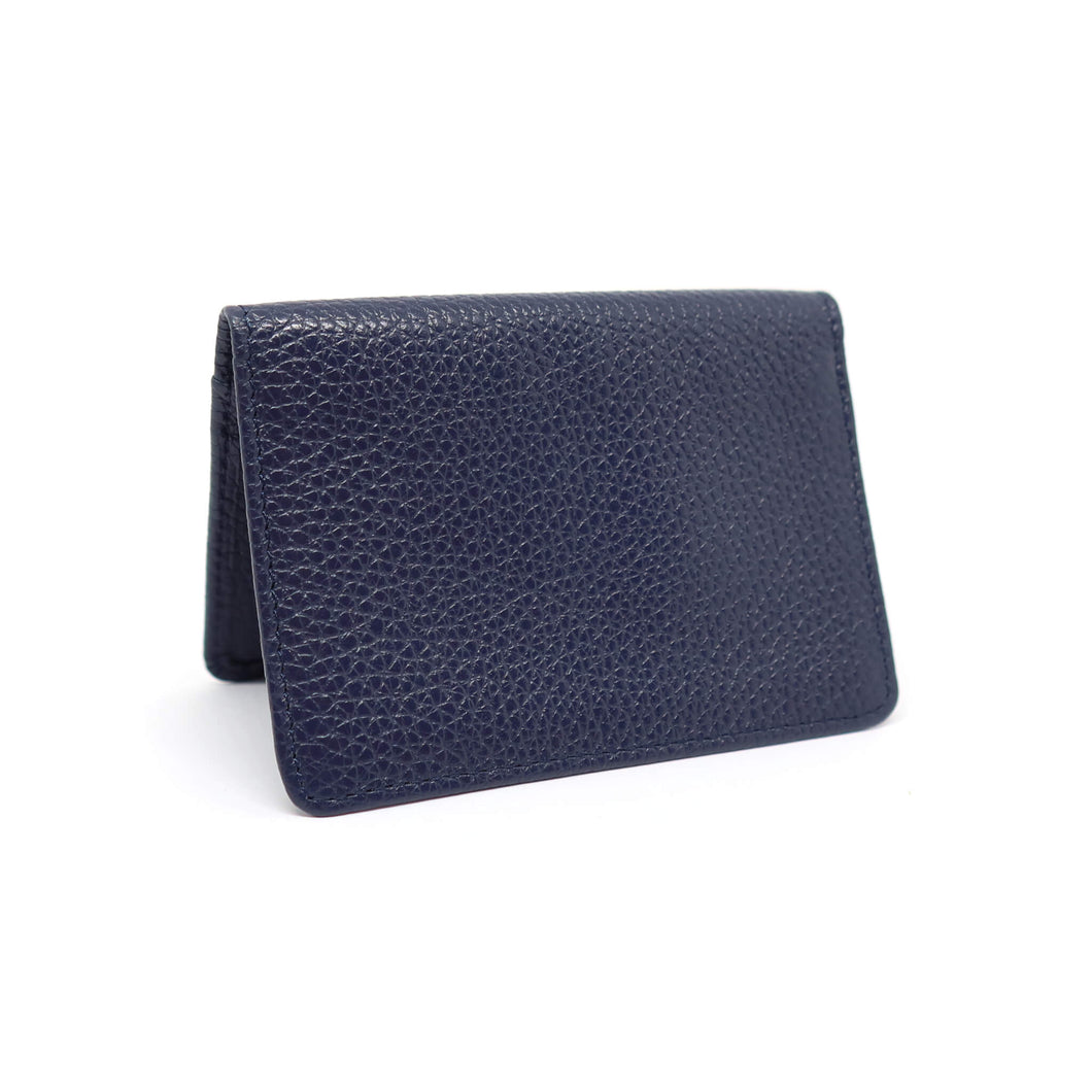 Navy textured leather card holder