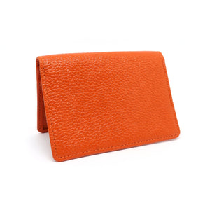 Orange textured leather card holder