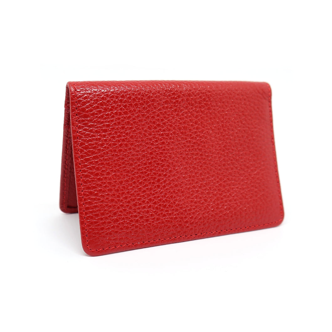 Red textured leather card holder