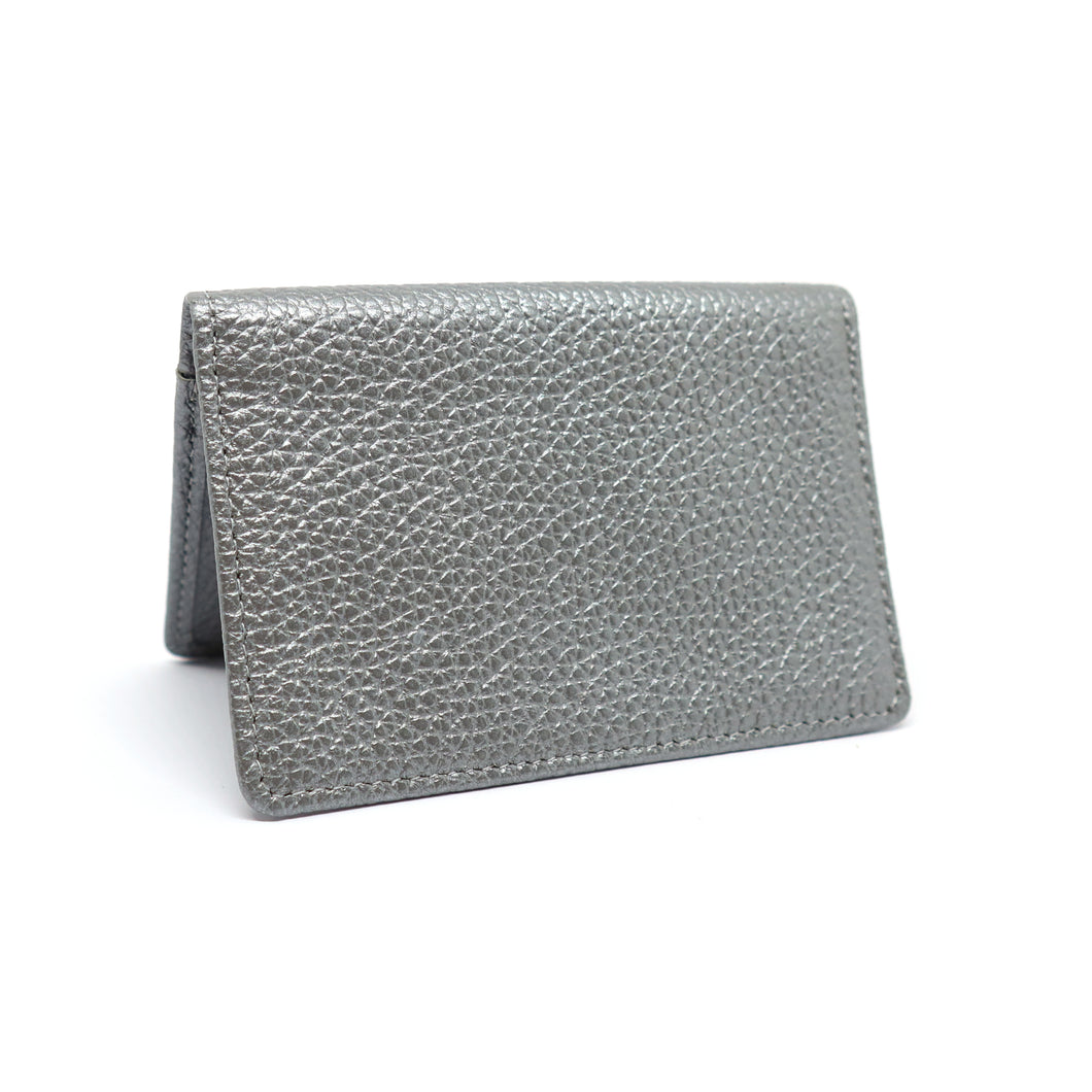 Silver textured leather travel card holder