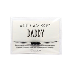 A little wish for daddy cord bracelet with three beads and with envelope