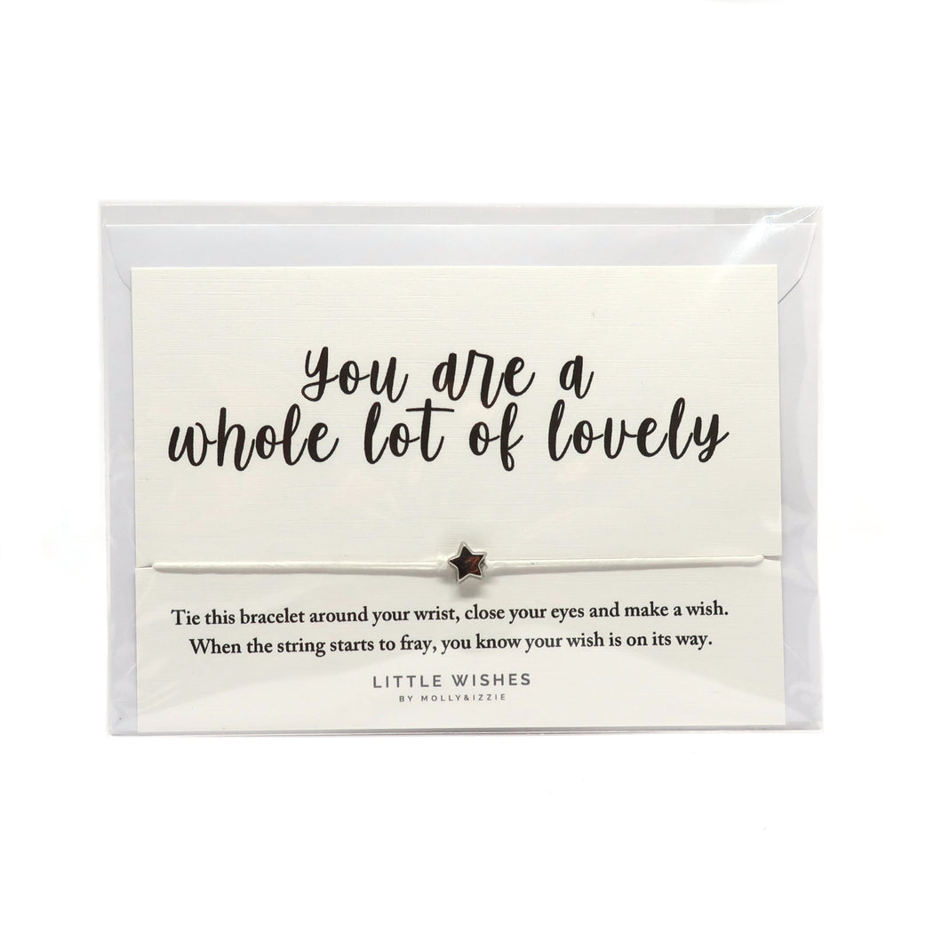 You are a whole lot of lovely cord bracelet with silver star on card with an envelope