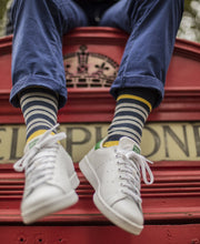Load image into Gallery viewer, yellow and grey striped socks for men