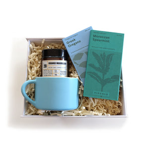 Blue themed gift box with seed, mug and candle gifts