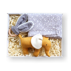 Gift box for new parents with teether, muslin and mustard elephant soft toy
