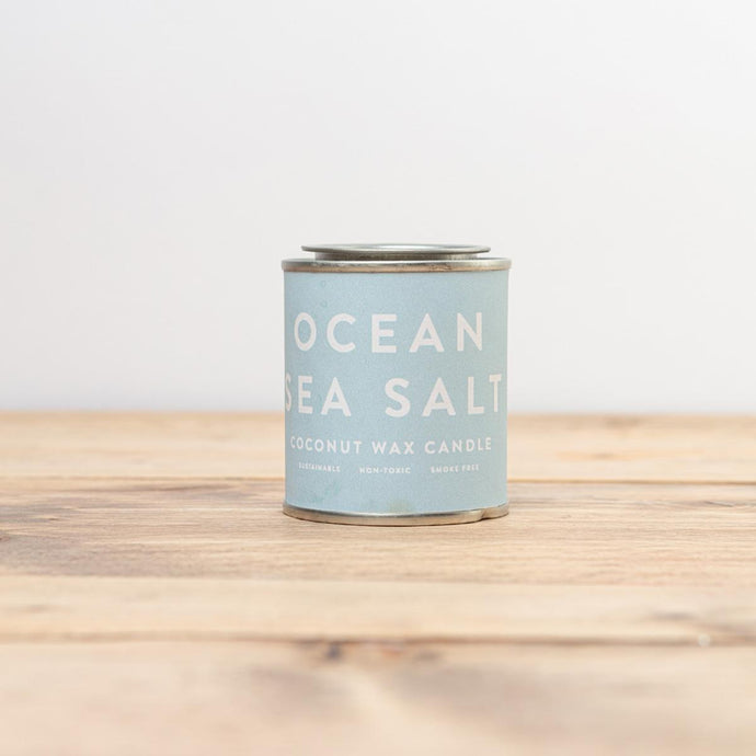 Ocean Sea Salt soy wax candle in a tin