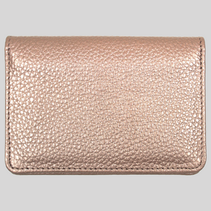 slim rose gold leather travel card holder