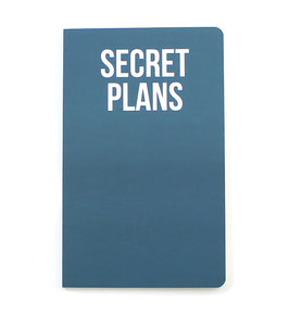 Blue notepad with secret plans in white writing