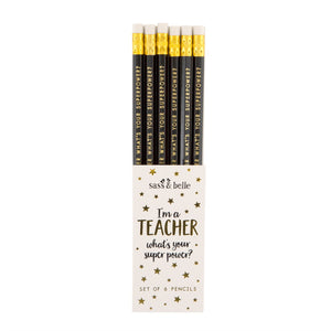 Packet of 6 engraved pencils for teachers.