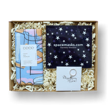 Load image into Gallery viewer, letterbox gift for teen girls with orange milk chocolate, spacemask and silver star ring