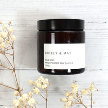 Load image into Gallery viewer, Cicely and May wild mint scented soy wax candle in a glass apothecary jar