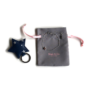 Silver star bracelet and navy leather star keyring gift for wife, partner, teacher