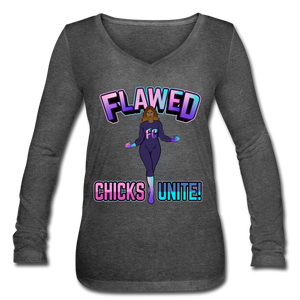 Flawed Chicks Unite Women's Long Sleeve  V-Neck Tee - deep heather