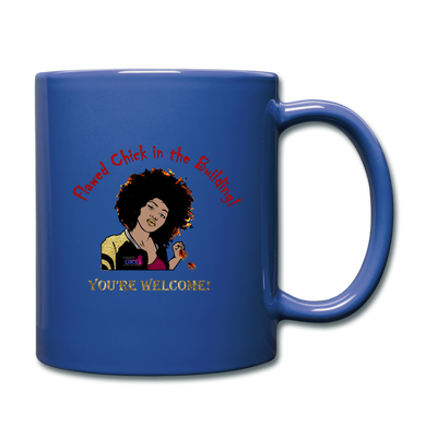 Flawed Chick in the Building Full Color Mug - royal blue