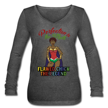Load image into Gallery viewer, Flawed Chick Legend Women's Long Sleeve V-Neck Tee - deep heather