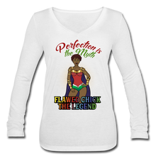 Load image into Gallery viewer, Flawed Chick Legend Women's Long Sleeve V-Neck Tee - white