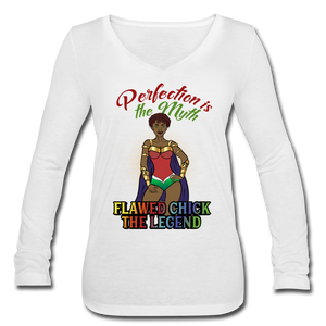Flawed Chick Legend Women's Long Sleeve V-Neck Tee - white