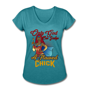 Only God Can Judge Women's Short Sleeve Tri-Blend V-Neck T-Shirt - heather turquoise