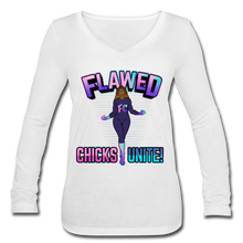 Load image into Gallery viewer, Flawed Chicks Unite Women's Long Sleeve  V-Neck Tee - white