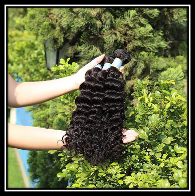 Indian Deep Wave 10A Virgin Hair Bundles Natural Color
