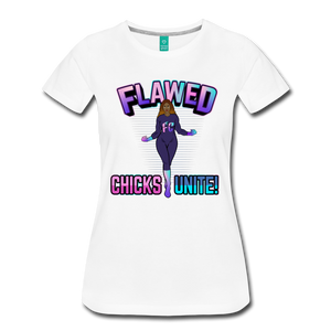 Flawed Chicks Unite Women's Crew T-Shirt - white