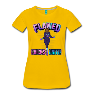 Flawed Chicks Unite Women's Crew T-Shirt - sun yellow