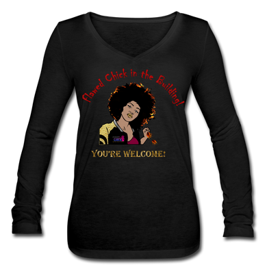 Flawed Chick in the Building Women's Long Sleeve V-Neck Tee - black