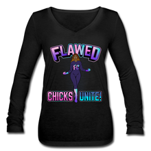 Load image into Gallery viewer, Flawed Chicks Unite Women's Long Sleeve  V-Neck Tee - black