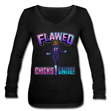 Flawed Chicks Unite Women's Long Sleeve  V-Neck Tee - black