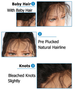 Peruvian Remy Straight Lace Front Short Human Hair Wigs With Bangs, Bleached Knots, and Baby Hair