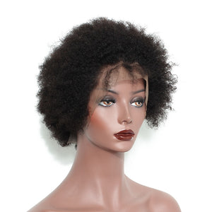Mongolian Afro Kinky Curly Short Human Hair Wig 150 Density Pre Pluvked Remy Hair