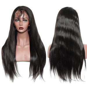 Brazilian Straight Remy 13X6 Lace Front Human Hair Wig 250% Density Natural Black With Baby Hair