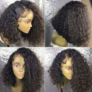 Brazilian Remy Deep Curly 360 Lace Frontal Bob Wig 180% 13X6 Lace