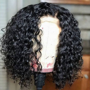 Brazilian Remy Deep Curly Bob 13x6 Lace Front Human Hair Wig 150% Density
