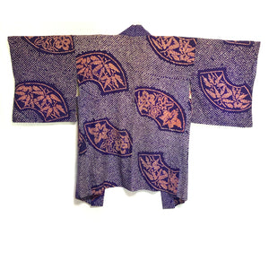 haori antique ~30's shibori violet eventails, bambou, momiji
