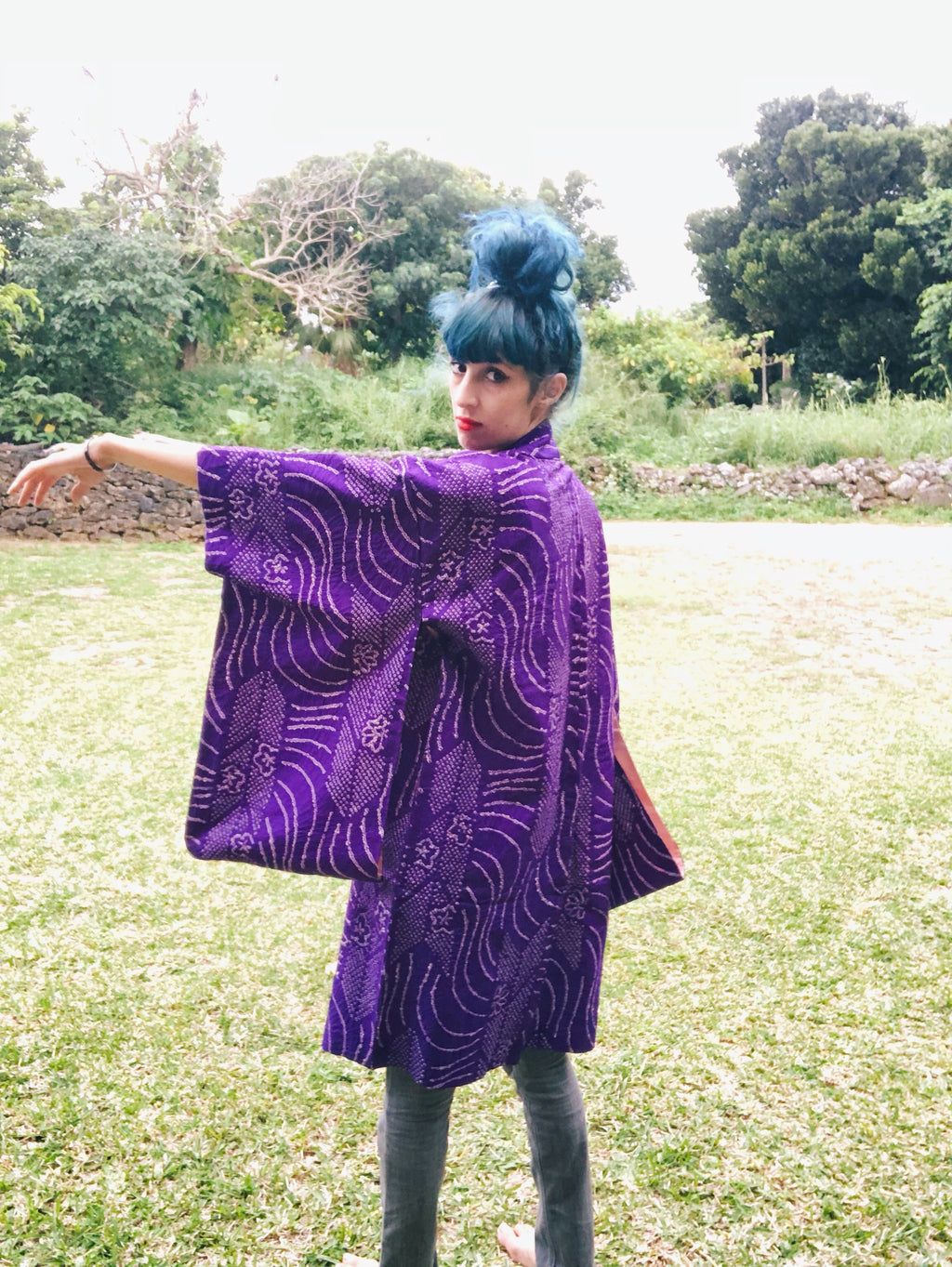 Antique shibori violet haori