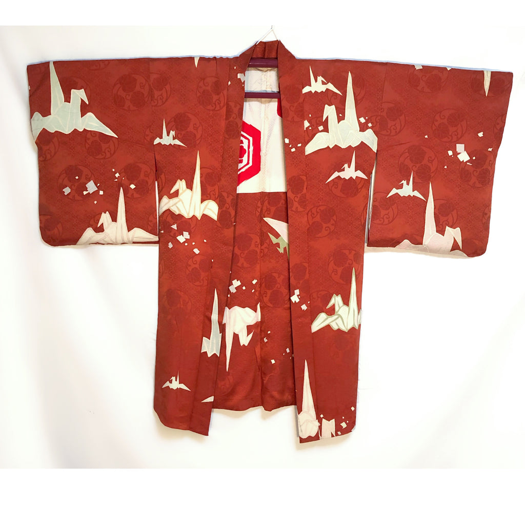 Long haori antique ~20's Grues origami
