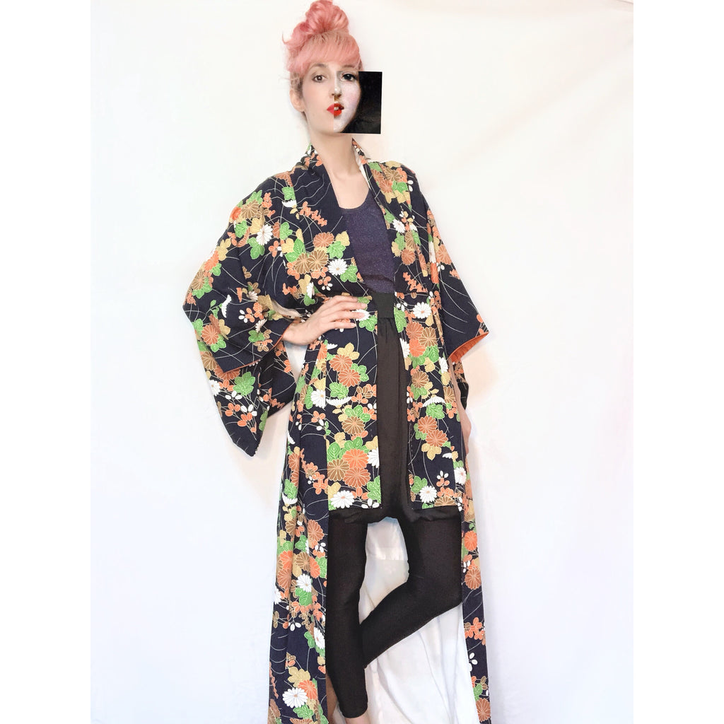 Vintage Kimono ~70's dark blue and flowers
