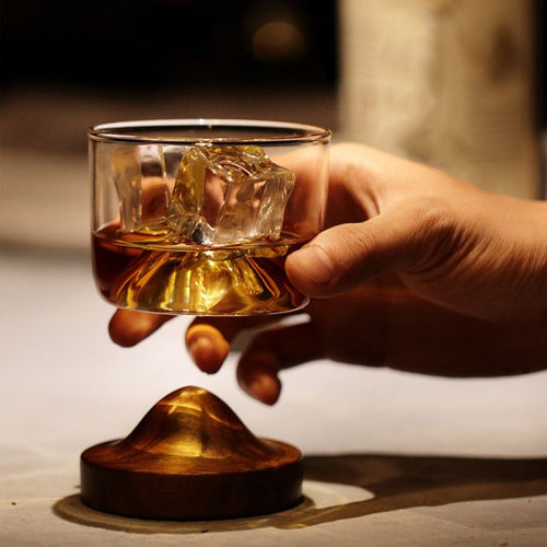 Wooden Bottom Whiskey Glass