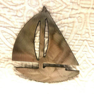 "Sailboat Ornament/Collectible Stainless Steel 4"" x 3 3/4"""