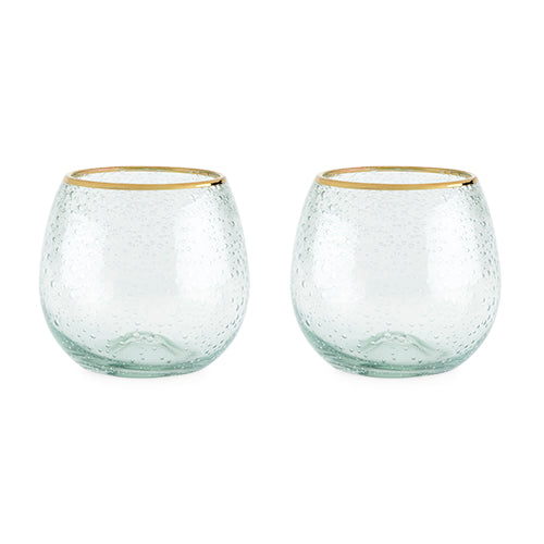 Gold Rim Bubble Wine Glass Set