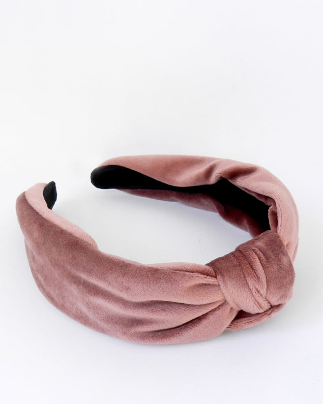 Blush Velvet Twist Knot Headband