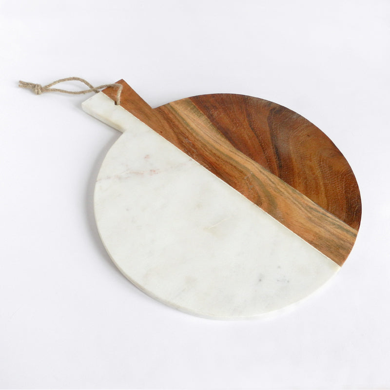 Piedmont Wood & Marble Round Serving Board