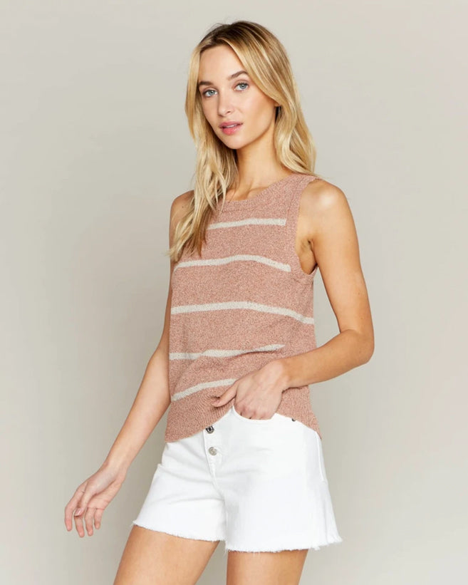 Striped Coastal Tank - Clay