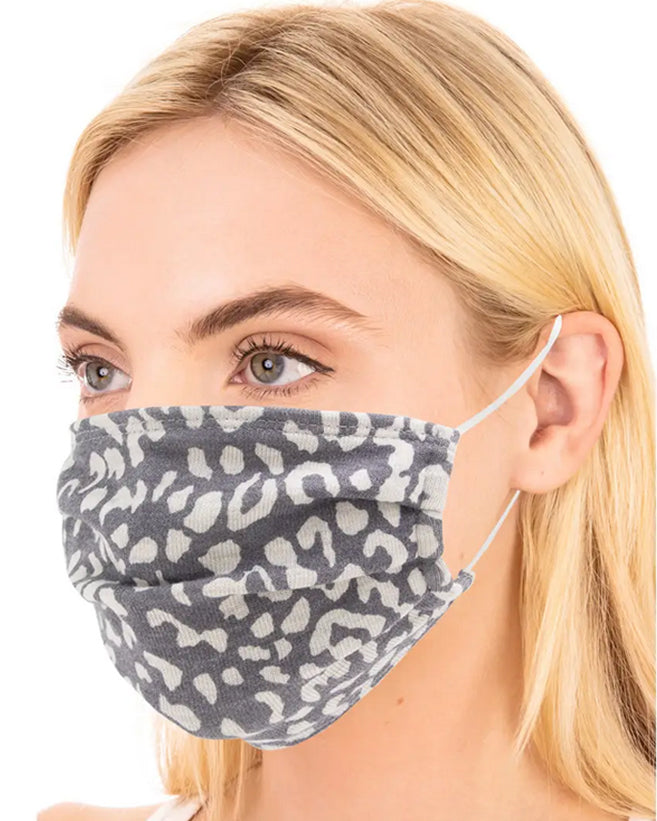 Grey Leopard Face Mask