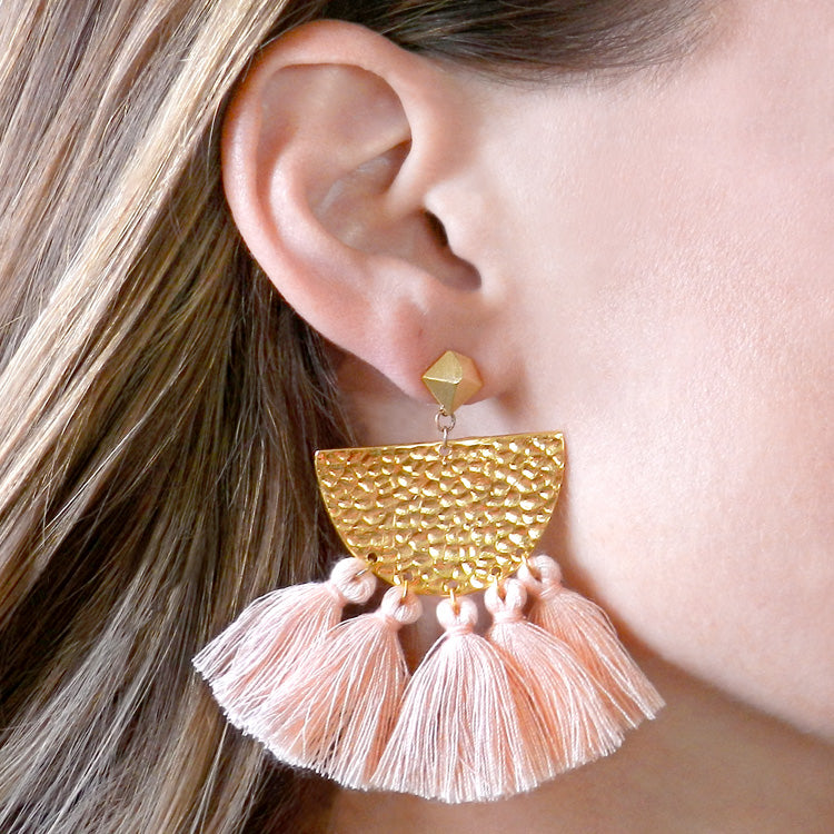 Hammered Fringe Earrings - Blush