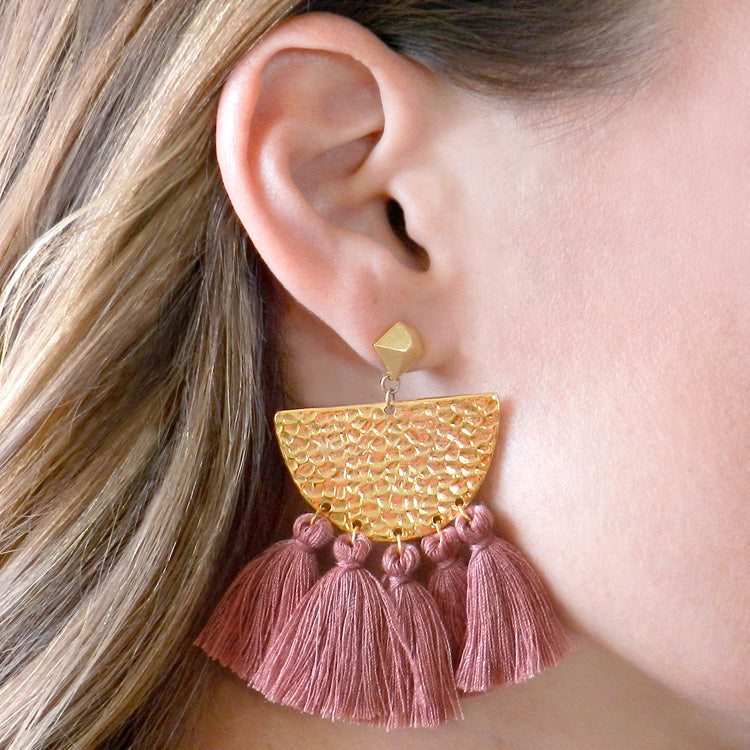 Hammered Fringe Earrings - Dusty Rose