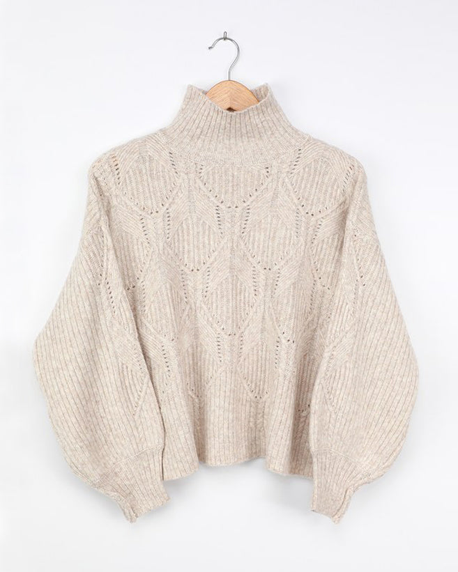 Cream Pointelle Knit Turtleneck Sweater