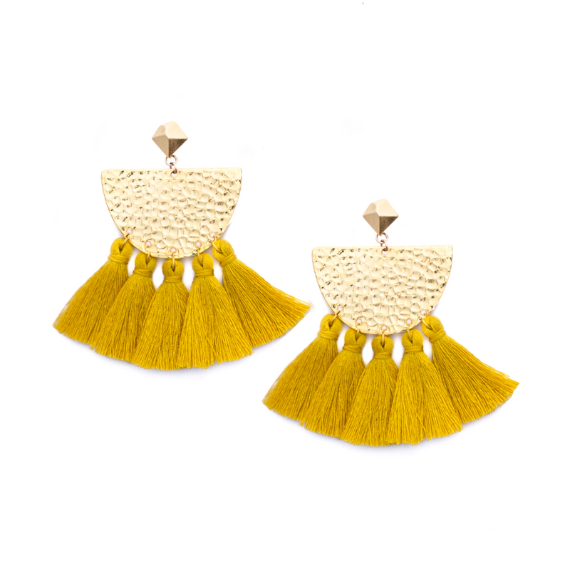 Hammered Fringe Earrings - Mustard