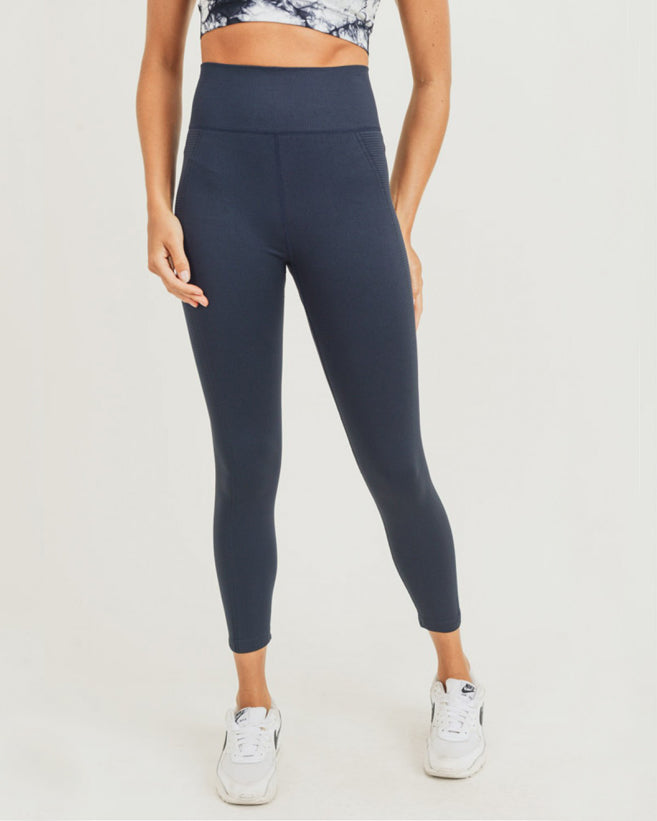 Ribbed Waistband Highwaist Capri Leggings